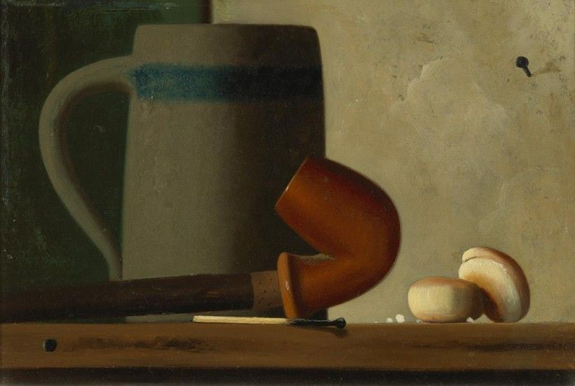 John Frederick Peto (1854 - 1907), Still Life with Mug, Pipe and Oyster Crackers, ca. 1880-1890, Oil on academy board, 6 1/4 × 9 1/8 in. Purchased with the Museum Volunteers' Fund, 1993