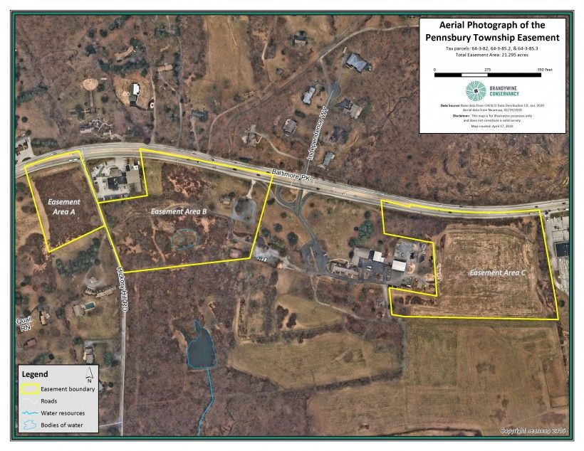 Nearmap high resolution aerial photography monitoring map of the Pennsbury Township Conservation Easement.
