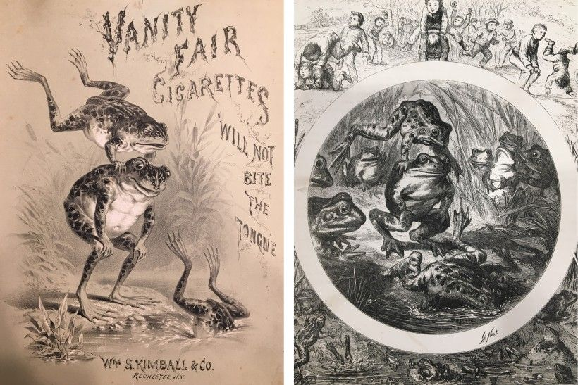 """An undated print proof in the Stephens' scrapbook of his leaping frog illustration for Kimball tobacco (left), in comparison with a very similar illustration by Thomas Nast, for """"The Origin of Leap-Frog,"""" published in The Riverside Magazine (May 1867)"""