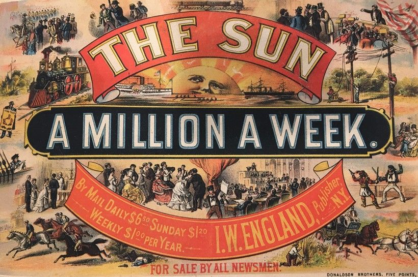 An undated print proof in Stephens' scrapbook featuring his illustration for an advertisement for The Sun