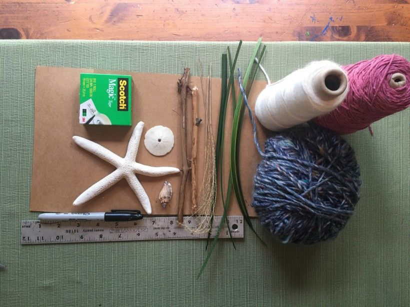Supplies for homemade nature weaving