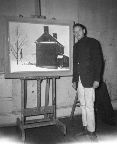 Andrew Wyeth in studio with Tenant Farmer, ca. 1961