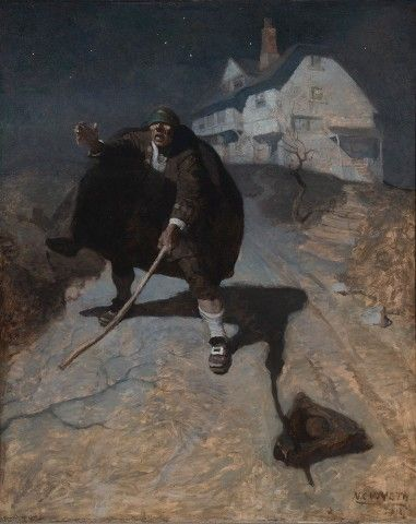 N. C. Wyeth, Tapping up and down the road in a frenzy, and groping and calling for his comrades, 1911, Oil on canvas.