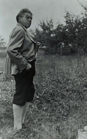 N.C. Wyeth on his Chadds Ford property, ca. 1943. Photograph by Edward J. S. Seal, courtesy of the Wyeth Family Archives