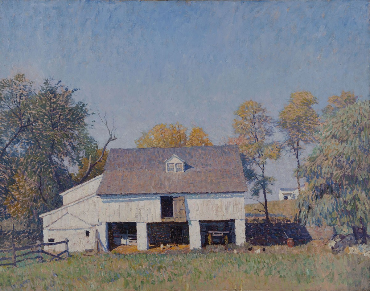 N. C. Wyeth, Pyle's Barn, ca. 1917-1921, Oil on canvas, 32 1/4 × 39 3/4 inches, Brandywine River Museum of Art, Gift of Amanda K. Berls, 1980