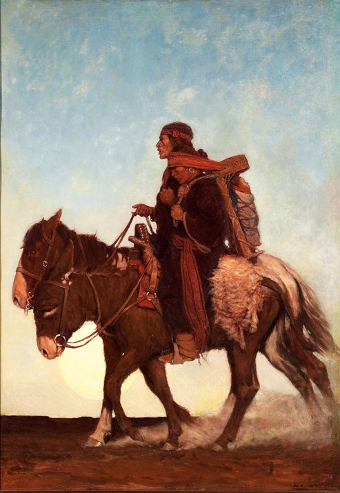 N. C. Wyeth, On the October Trail. (A Navajo family.), 1907, Oil on canvas, 41 3/4 × 29 1/4 inches, Brandywine River Museum of Art, Museum purchase, 1983