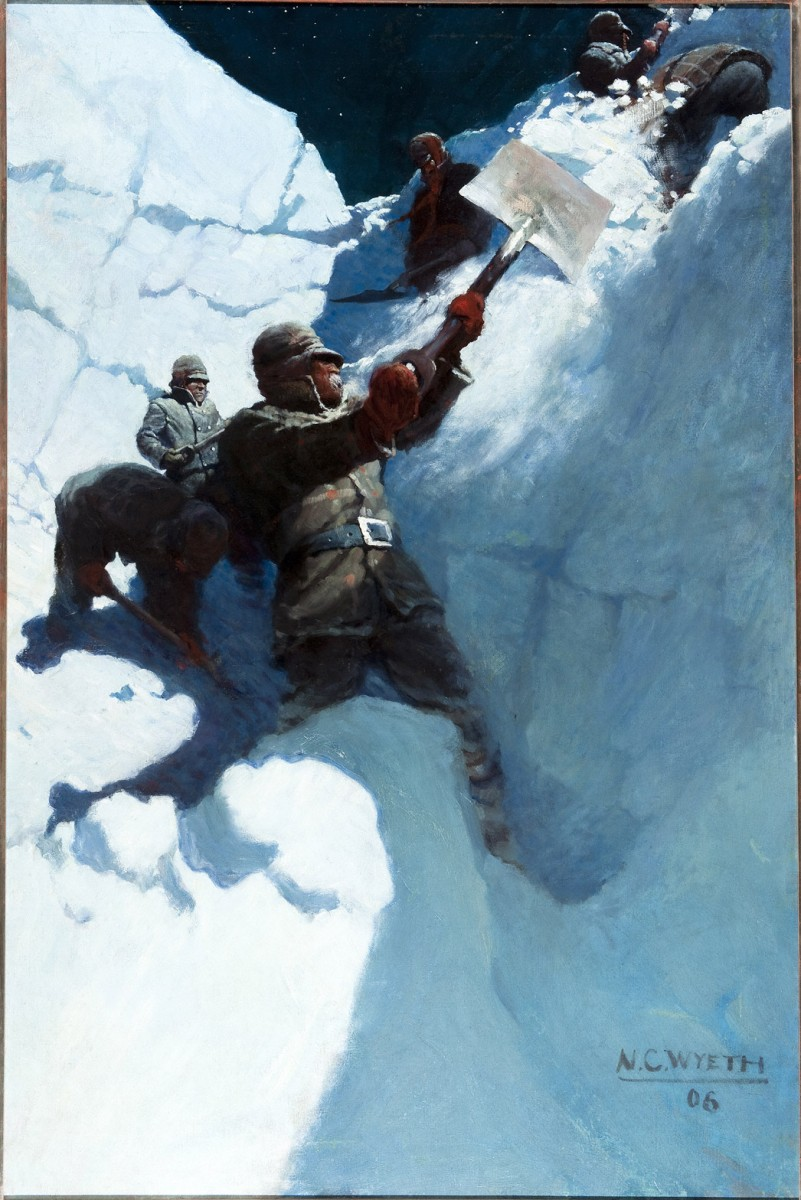 "N. C. Wyeth, ""From an upper snow platform to which the hard blocks were thrown, a second man heaved them over the bank,"" 1906, Oil on canvas, 52 ¼ x 37 inches, Brandywine River Museum of Art, Gift of Mr. and Mrs. Richard M. Scaife, 1992"