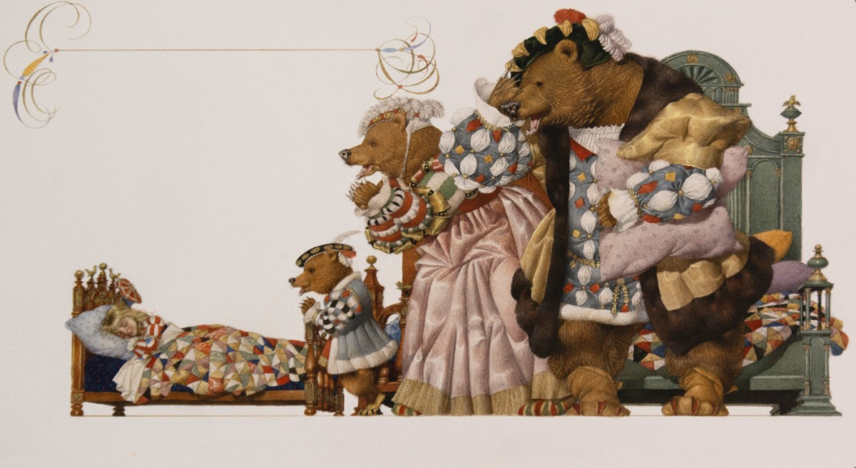 "Gennady Spirin (b. 1948), ""Who's been sleeping in my bed,"" says Papa Bear, 2009, Watercolor on paper, Collection of the artist. Illustration for Goldilocks and the Three Bears by Gennady Spirin (Two Lions, 2009)"