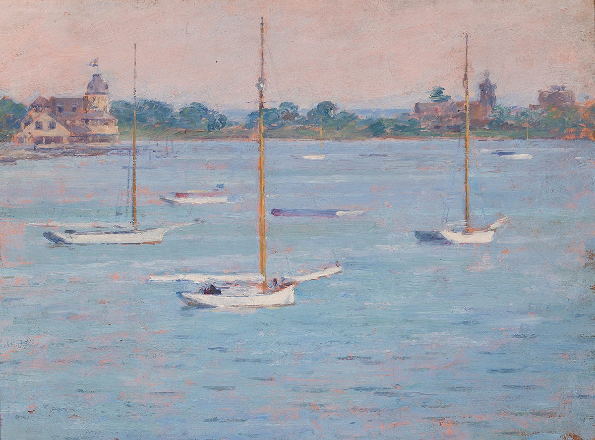 Yacht Club Cos Cob Harbor painting