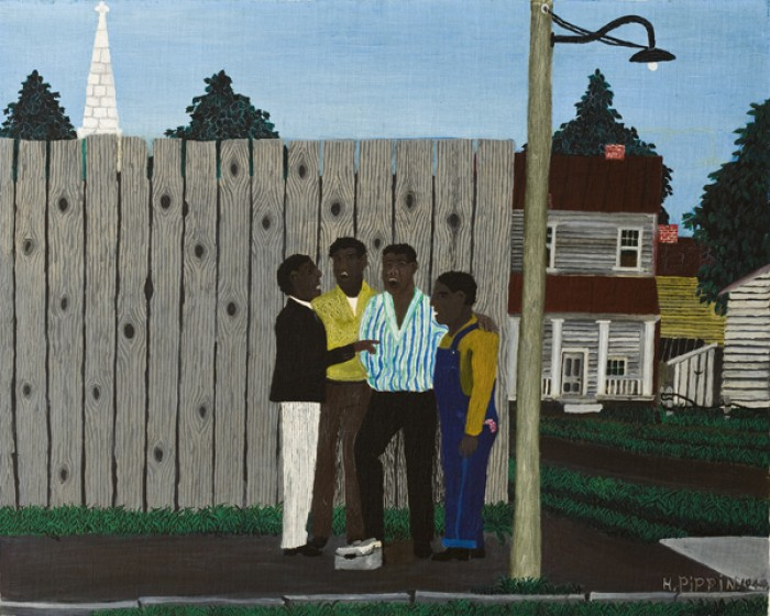 Horace Pippin (1888-1946), Harmonizing, 1944, oil on fabric, 24 x 30 in. Allen Memorial Art Museum, Oberlin College, Ohio. Gift of Joseph and Enid Bissett, 1964