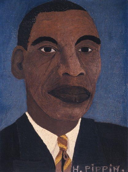 Horace Pippin (1888-1946), Self-Portrait (II), 1944, oil on canvas adhered to cardboard, 8 x 6 1/2 inches. The Metropolitan Museum of Art, New York. Bequest of Jane Kendall Gingrich, 1982