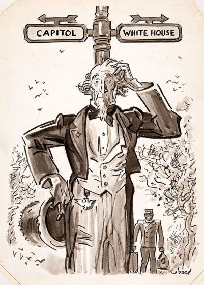 Oscar Cesare (1885-1948) Uncle Sam—Capitol or White House? circa 1937, ink wash on paper. Gift of Valentine Cesare, 1992