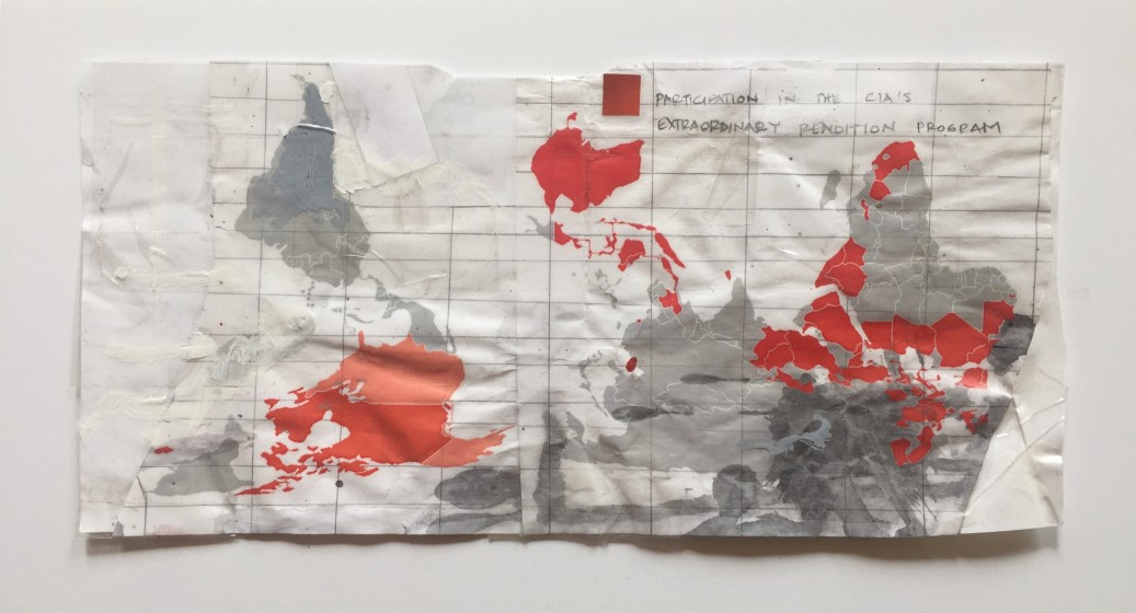Ana Vizcarra Rankin, World​ ​Map​ ​[extraordinary​ ​rendition]​, ​2014, collage​ ​packing​ ​tape​, ​11x17in​ ​(framed)
