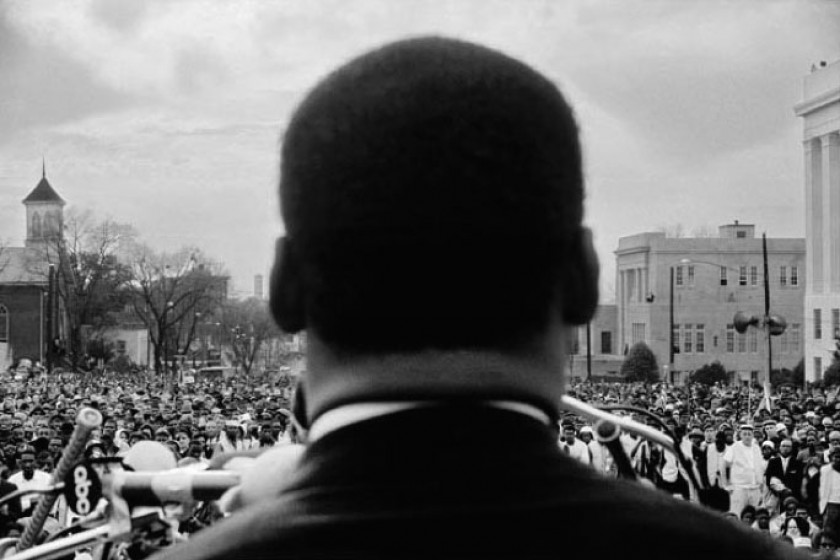 Dr. Martin Luther King, Jr. speaking to 25,000 civil rights marchers at conclusion of the Selma to Montgomery March.