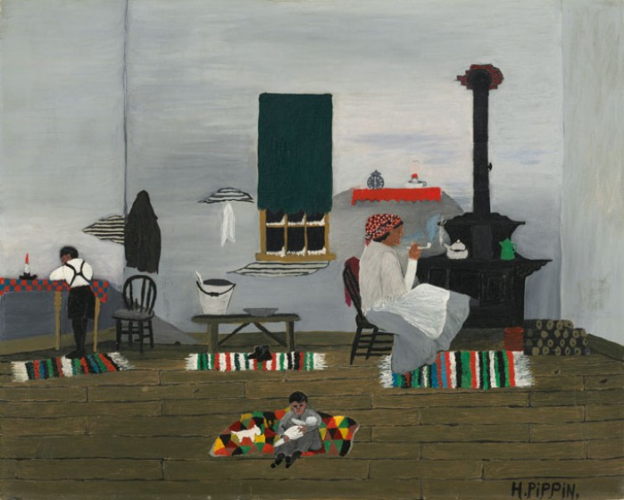 Horace Pippin (1888-1946), Interior (also known as Interior of Cabin), 1944, oil on fabric. National Gallery of Art, Washington, D.C. Gift of Mr. and Mrs. Meyer P. Potamkin in honor of the Fiftieth Anniversary of the National Gallery of Art, 1991