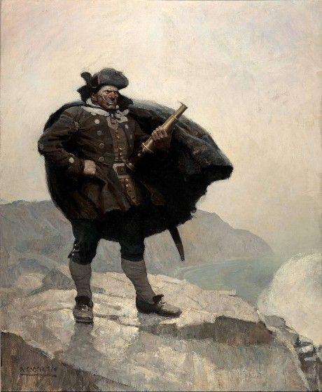 N.C. Wyeth (1882-1945), All day he hung round the cove, or upon the cliffs, with a brass telescope (detail) (1911), oil on canvas, collection of the Brandywine River Museum.