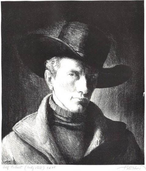 Self Portrait (short version), 1936 Lithograph, 10 3/4 x 9 3/8 in. The Andrew and Betsy Wyeth Collection