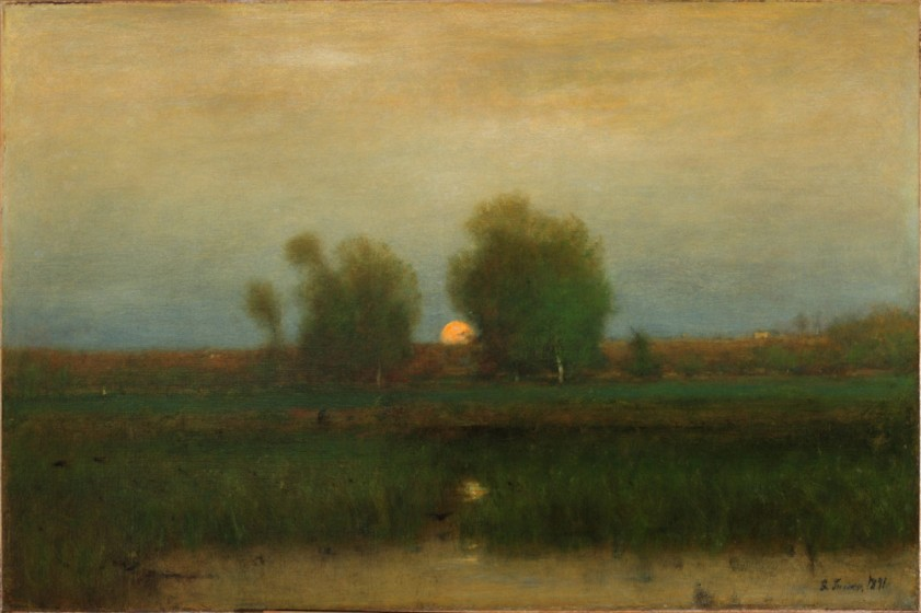 George Inness, 1825-1894, Moonrise, Alexandria Bay, 1891, Oil on canvas, 30 ¼ x 45 ¼ in., Westmoreland Museum of American Art. Bequest of Richard M. Scaife, 2015.65