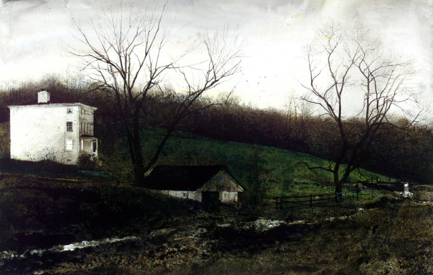 Andrew Wyeth (1917-2009). Evening at Kuerners, 1970, drybrush watercolor. © 2017 Andrew Wyeth / Artists Rights Society (ARS). Private Collection