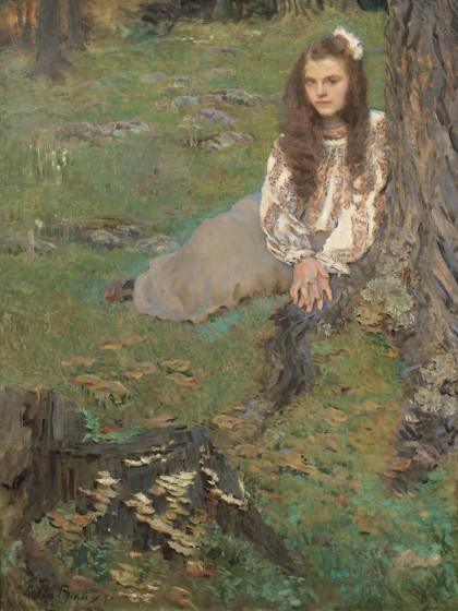 Cecilia Beaux, Dorothea in the Woods, 1897. Oil on canvas, 53 1/4 x 40 in. Whitney Museum of American Art. Gift of Mr. and Mrs. Raymond J. Horowitz