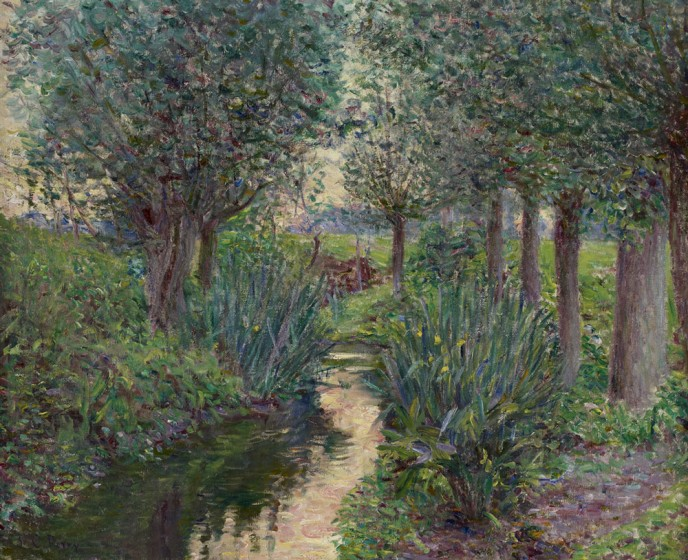 Lilla Cabot Perry, A Stream Beneath the Poplars, ca. 1890-1900