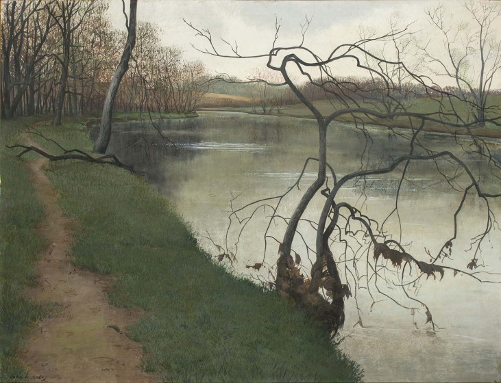 John McCoy (1910-1987). Brandywine at Twin Bridges, 1953, Tempera on panel, Gift of Alleta Laird Downs in memory of W. Brooke and Marjorie H. Stabler, 1992