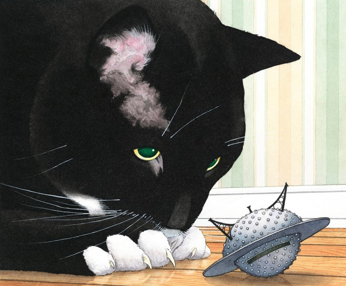 Illustration for Mr. Wuffles! by David Wiesner (Houghton Mifflin Harcourt, 2013)