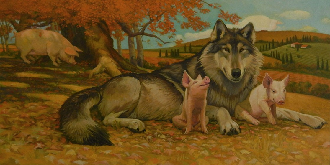 """From that moment on, the three pigs and the wolf spent their days together."""