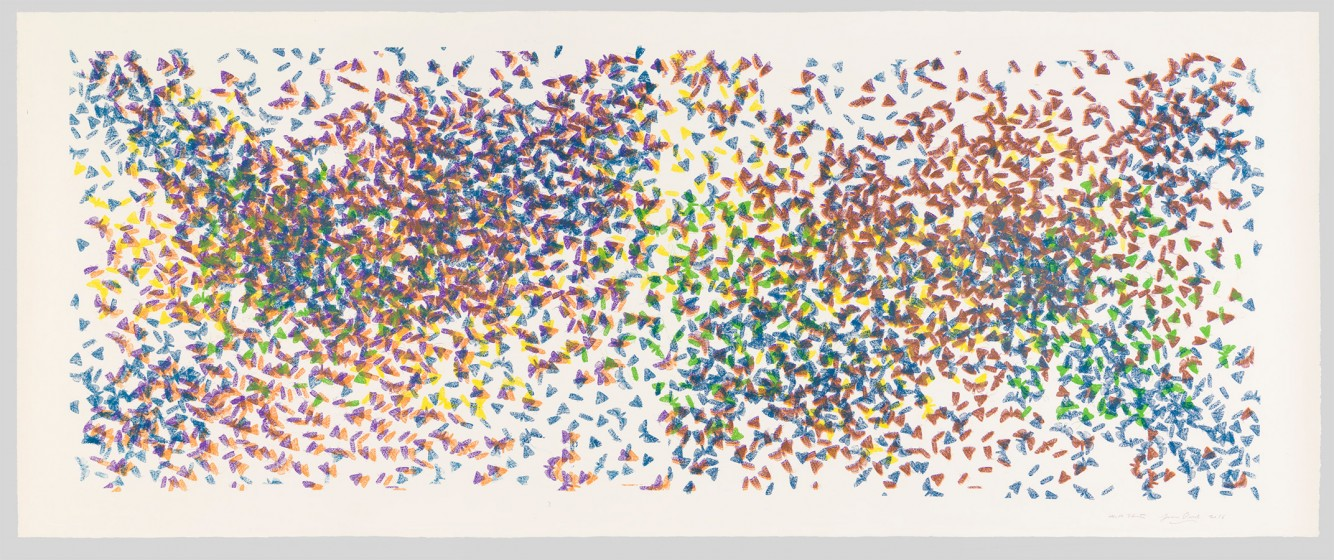James Prosek, Moth Cluster IV, 2016, Pen, ink, and silkscreen on paper, 60 x 130 in. Courtesy of the artist and Waqas Wajahat, New York