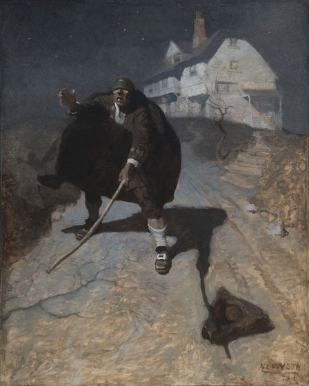 N. C. Wyeth, Tapping up and down the road in a frenzy, and groping and calling for his comrades, 1911, Oil on canvas, 47 x 38 inches, The Andrew and Betsy Wyeth Collection