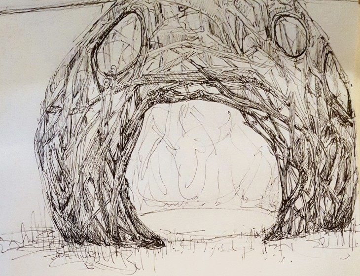 Ian Stabler, Sketch for Queen Anne's Lace Pod, 2020, pencil on paper