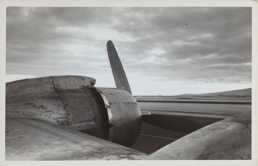 Ralston Crawford (1906-1978), Plane Propeller on Tarmac, 1945, Photograph, 3 1/2 x 5 1/2 in., Vilcek Collection