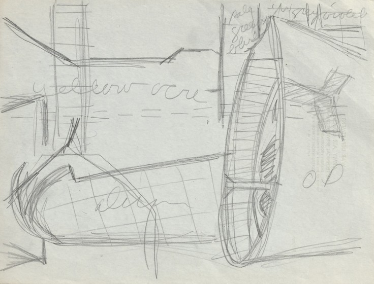 Ralston Crawford (1906-1978), Curtiss Aircraft Plant Study—Wing Fixture, 1945, Pencil on paper, 8 x 10 1/2 in., Vilcek Collection