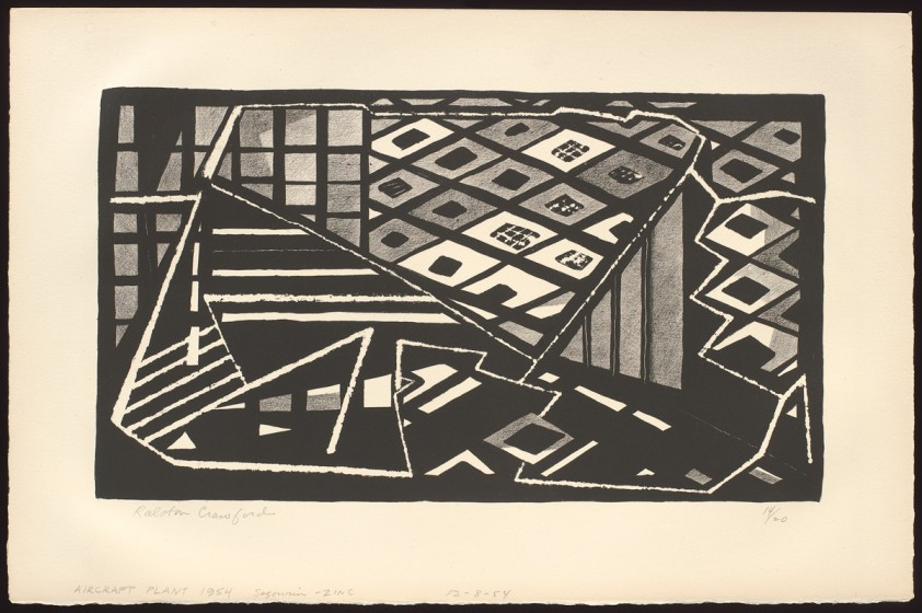 Ralston Crawford (1906-1978), AIRCRAFT PLANT 1954, December 8, 1954, Lithograph, 13 x 20 in., Vilcek Collection