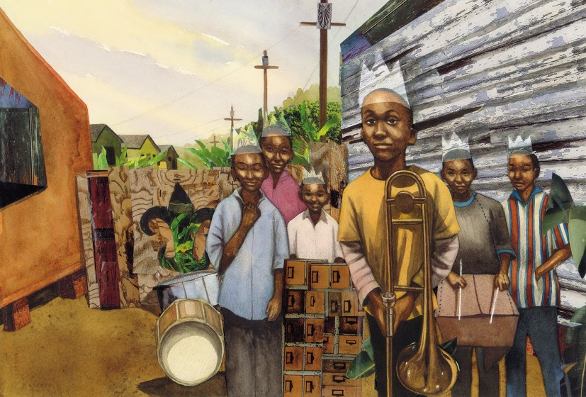 Illustration by Bryan Collier for Trombone Shorty, written by Troy Andrews (Abrams Books for Young Readers, 2015)