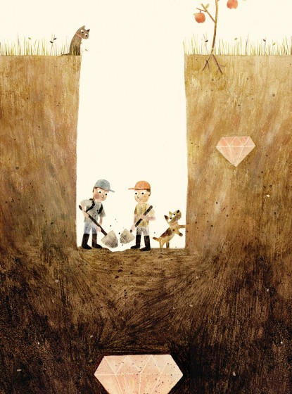 SAM & DAVE DIG A HOLE. Text copyright © 2014 by Mac Barnett. Illustrations copyright © 2014 by Jon Klassen. Reproduced by permission of the publisher, Candlewick Press, Somerville, MA.