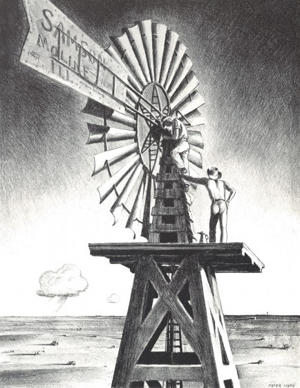 The Windmill Crew, 1936. Lithograph, 15 5/8 x 12 1/8 in. The Andrew and Betsy Wyeth Collection