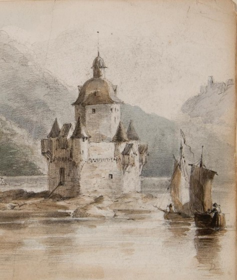 F.O.C. Darley (1822-1888). Pfalz Castle, on the Rhine (detail), 1866