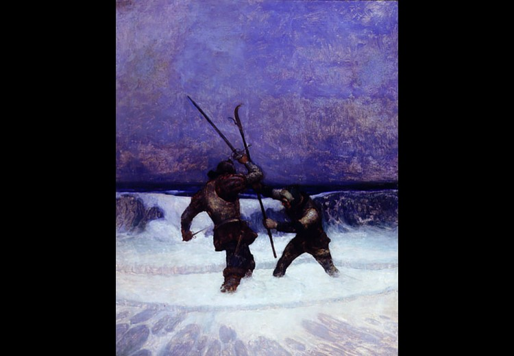 N.C. Wyeth, They were now fighting above the knees in the spume and bubble of the breakers, oil on canvas, 1916, illustration for The Black Arrow. Collection of the Brandywine River Museum of Art, Gift of Mr. and Mrs. S. Hallock du Pont, Jr., 1992.