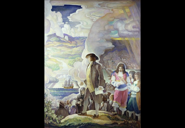 N.C. Wyeth, William Penn. Man of Vision. Courage. Action, oil on canvas, 1933. Collection of the Brandywine River Museum of Art, gift of the Penn Mutual Life Insurance Company, 1997.