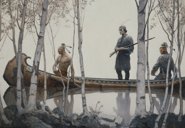 N.C. Wyeth, endpaper illustration for Last of the Mohicans, oil on canvas, 1919. Collection of the Brandywine River Museum of Art, given in memory of Raymond Platt Dorland by his children, 1973.