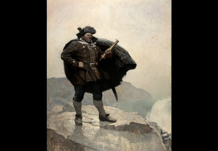 N.C. Wyeth, All day he hung round the cove, or upon the cliffs, with a brass telescope, 1911.