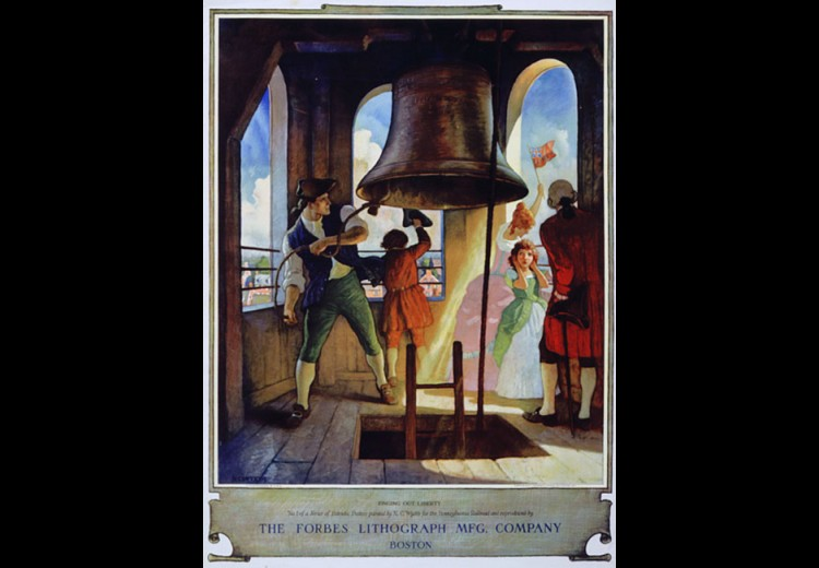 Ringing Out Liberty, poster and calendar design by N.C. Wyeth for the Pennsylvania Railroad Company, ca. 1929. Calendar illustration collection of the Brandywine River Museum of Art
