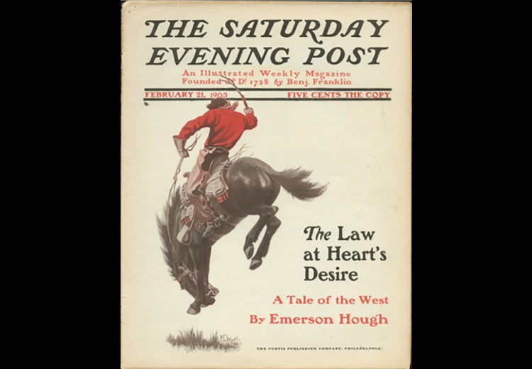 Saturday Evening Post cover, with illustration by N.C. Wyeth February 21, 1903.