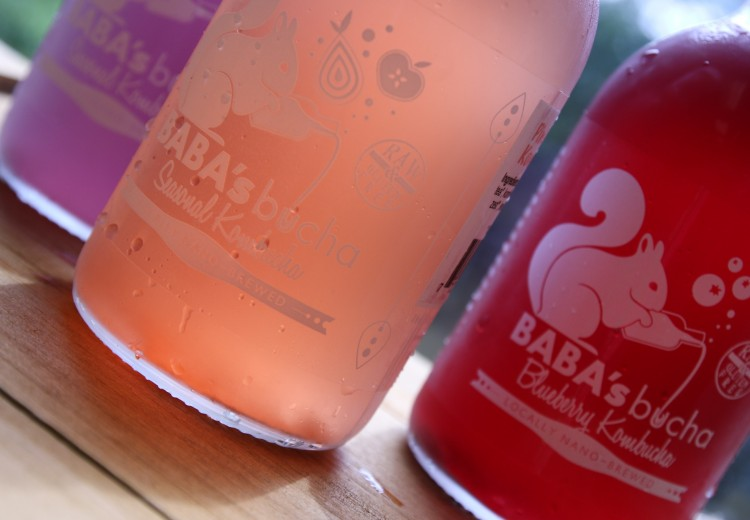 BABA'sbucha kombucha bottles in the cafe