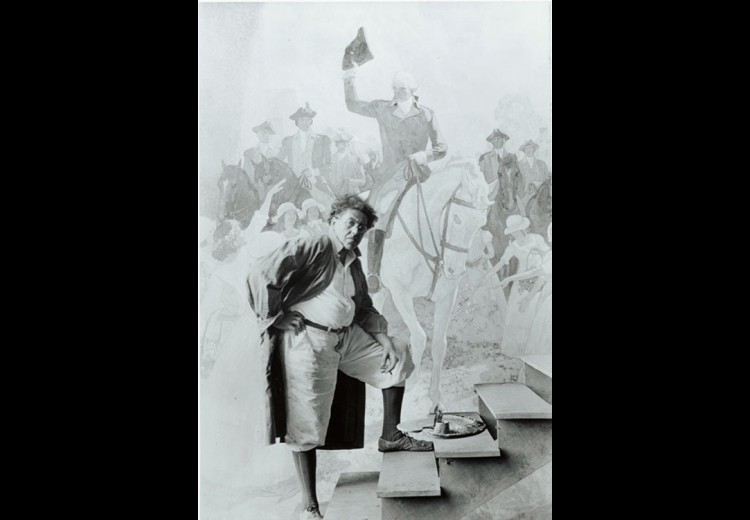 N.C. Wyeth at work on mural for First Mechanics National Bank, Trenton, New Jersey, ca. 1930. Photograph by Edward J. S. Seal. Collection of the Brandywine River Museum of Art